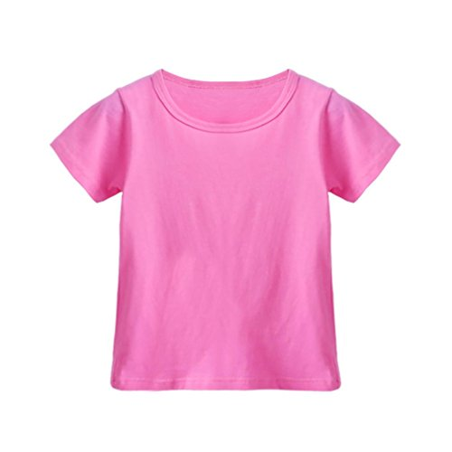 Candy Stripe Hoodie Top - FEITONG Toddler Children Boys Girls Solid Candy Color Short Sleeve Tops T-Shirts Outfits Clothes, 1-6 Years (Hot Pink, 5-6T)