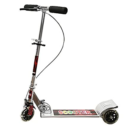 Wembley Kids Silver Graphic Design Folderable 3 Wheeler Stylish and Trendy  Skate Scooter with Front Suspension and Hand Brake