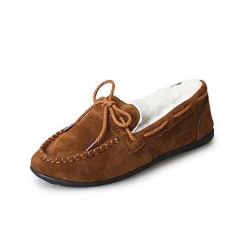Sonnena Ladies Lace Up Boat Deck Shoes Autumn Winter Women Warm Flats Rubber Soft Round Casual Peas Flat Shoes Brown c1CqMuunS