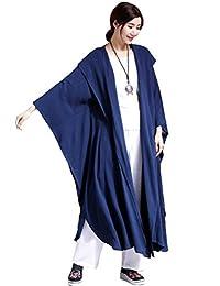 Mordenmiss Women's New Linen Drape Cloak Trenchcoat with Hood