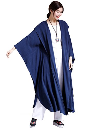 Mordenmiss Women's New Linen Drape Cloak Trenchcoat with Hood L Blue