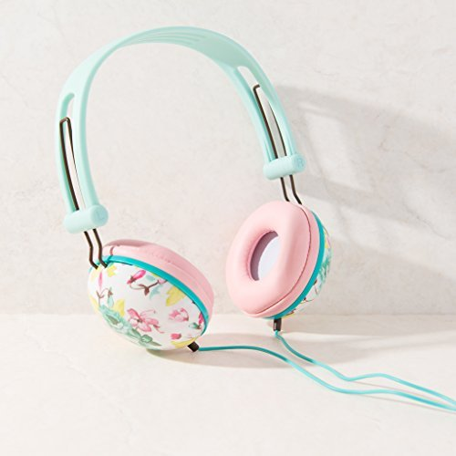 ankit-pastel-mint-pink-floral-noise-isolating-headphones-apple-android-compatible-gifts-for-her-over