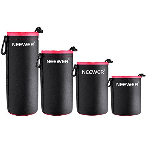 Neewer® 4-Pack Protective Lens Neoprene Pouch Set: Small, Medium, Large and Extra Large Pouches for Canon, Nikon, Pentax, Sony, Olympus, Panasonic and More DSLR Camera Lens (Black & Red)