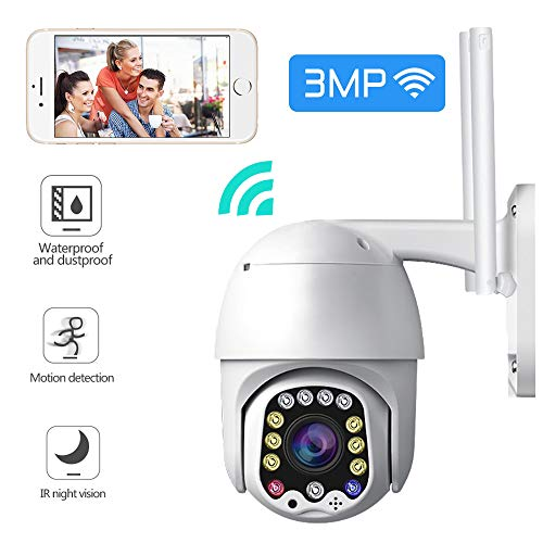 Crbrillar 3MP CCTV Outdoor Cameras Waterproof WiFi PTZ Pan Tilt Security Camera HD Two Way Audio Motion Sensor IR Cam Night Vision