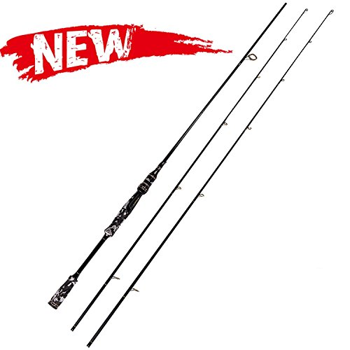 Entsport Camo Legend 2-Piece 7-Feet Spinning Rod 24 Ton Carbon Fiber Spincasting Fishing Rod with 2 Tips - Medium and Medium Heavy Portable Spin Bass Fishing Rod ()