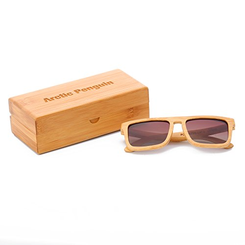 Arctic Penguin Mens Womens Bamboo Wood Wayfarer Retro Sunglasses With Polarized Lens (Bamboo, - Arctic Penguin Sunglasses