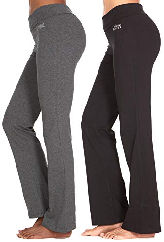 (Unique Styles Fold-Over Waistband Stretchy Cotton Blend Yoga Pants (Large-2Pack Black & Grey))