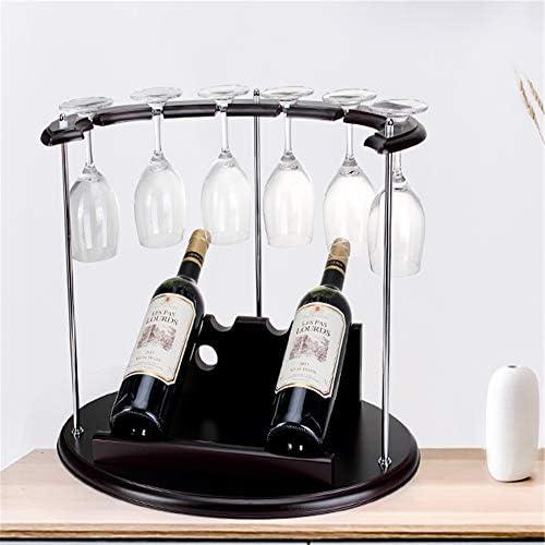 グラスホルダー ワイングラスは、アイデアワインは、装飾をラックラックソリッドウッドヨーロッパのクリエイティブワイン展示逆さまラック 戸棚の下 (Color : Brown, Size : 48x30x37.7cm)