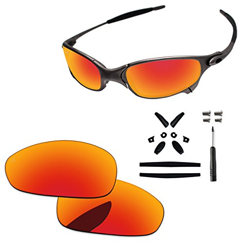 PapaViva Replacement Lenses & Rubber Kits for Oakley Juliet Pro+ Fire Red Polarized
