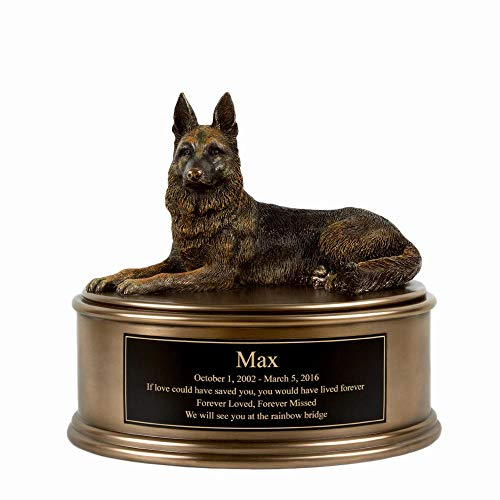 Perfect Memorials Custom Engraved German Shepherd Figurine Cremation Urn
