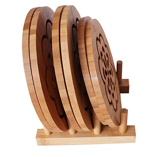 Bamboo Insulation Mat 6 Pieces Delivery Frame Solid Wood Placemat Table Mat Thick Thick Heat Resistant Bowl Mat Coaster Helps To Protect The Table Environmental Safety