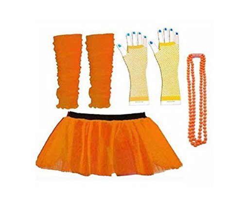 Rush Dance 80s Fancy Costume Set - TUTU & LEG WARMERS & FISHNET GLOVES & BEADS (Disney World Marathon Costumes)