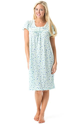 Floral Nightshirt - Casual Nights Women's Cap Sleeve Floral Nightgown - Green - X-Large