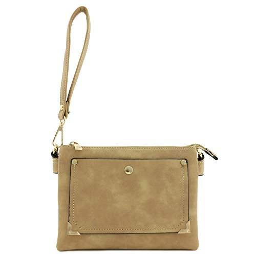 Multi Accent Tan Front Compartment Pocket Crossbody Bag Small wZSOxHq