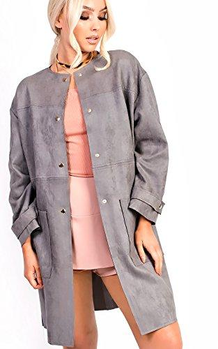 Collarless Suede Jacket - IKRUSH Women's Carellia Collarless Faux Suede Jacket in Grey Size M