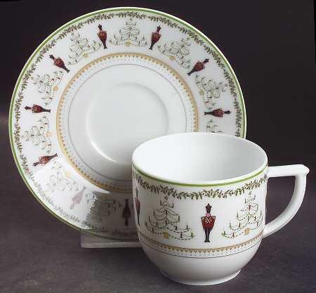 Bernardaud Limoges Grenadiers Holiday Christmas Flat Cup & Saucer Bernardaud Gifts