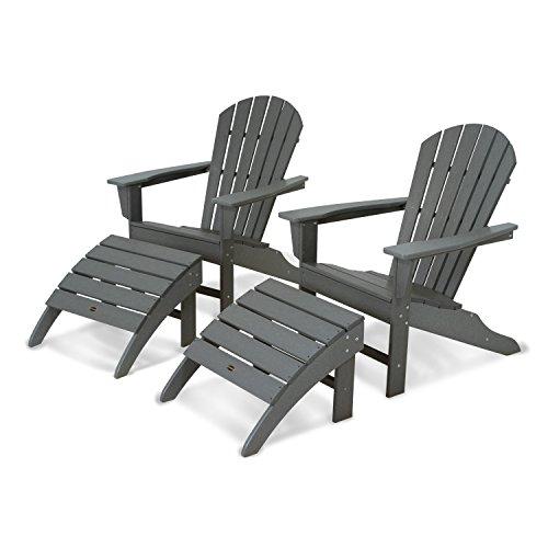 POLYWOOD PWS137-1-GY South Beach 4-Piece Adirondack Chair Set, Slate Grey