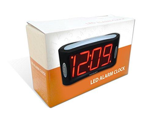 Travelwey LED Digital Alarm Clock - Large Night Light, Alarm, Snooze, Dimmer, 1.8 Inch Red Digits, Black