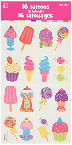 Amscan Candy Land Birthday Party Sweet Shop Temporary Tattoo Favors (16 Pack), 2