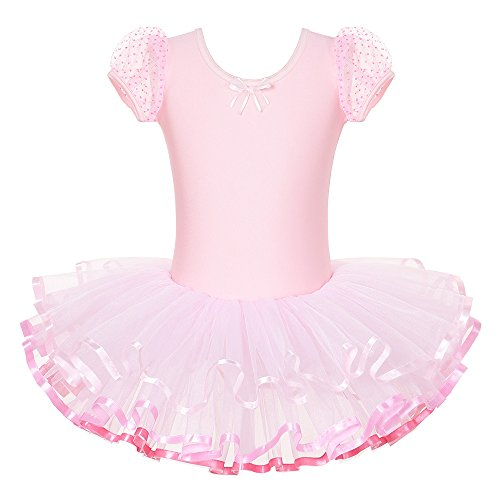 BAOHULU Kids Rhinestone Sparkle Dance Costumes Short Sleeve Tutu Ballet Dress for Little Girls, D-pink, 6-8 Years(Tag No.XXL) -