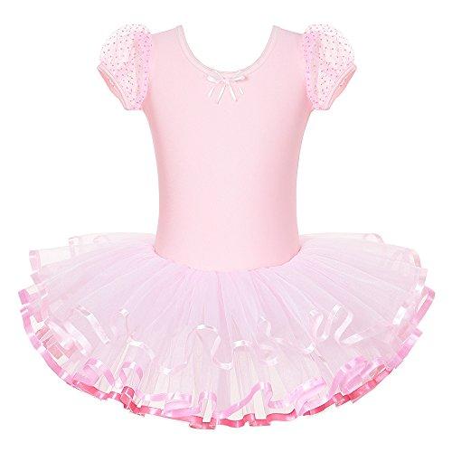 17279f3cde69 BAOHULU Girls Leotards Dance Skirted Short Sleeve Rhinestone Ballet ...