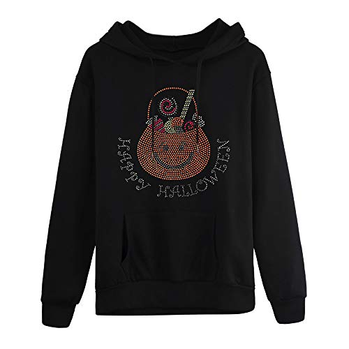 Halloween Womens Sweatshirt Plus Size KIKOY Long Sleeve Pocket Hooded Neck Blouse -