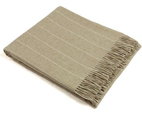 (Wool Throw Blanket by Bronte - Merino Lambswool - Pinstripe (Beige))
