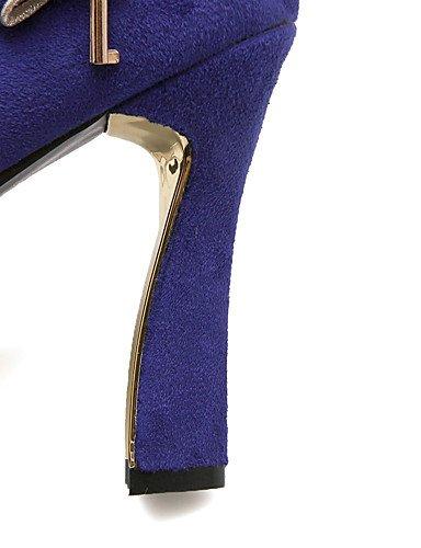 GGX/Damen Schuhe Fleece Sommer/Herbst Heels/Schuhe Heels Office & Karriere/Casual geschoben Ferse Schleife Schwarz/Blau/Rot blue-us7.5 / eu38 / uk5.5 / cn38