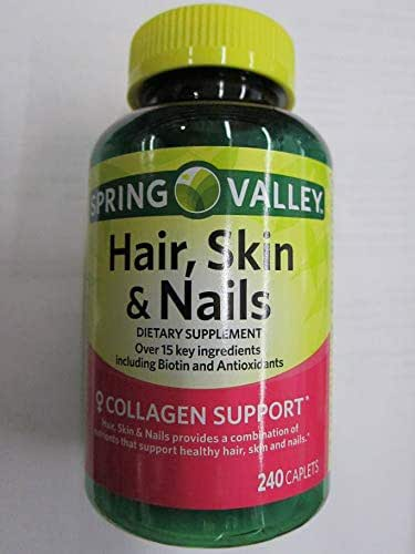 Spring Valley Hair, Skin, Nails Biotin Collagen Antioxidants, 240 Caplets (Pack of 2)