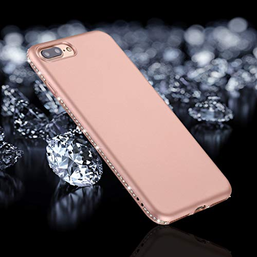 QGT for iPhone 8 Plus & 7 Plus Crystal Decor Sides Frosted Soft TPU Protective Back Case (Black) (Color : Rose Gold)