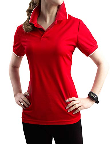 - TWINTH Womens Active Sports Wear Short Sleeve 2-Button Polo T Shirt with Plus Size RED M