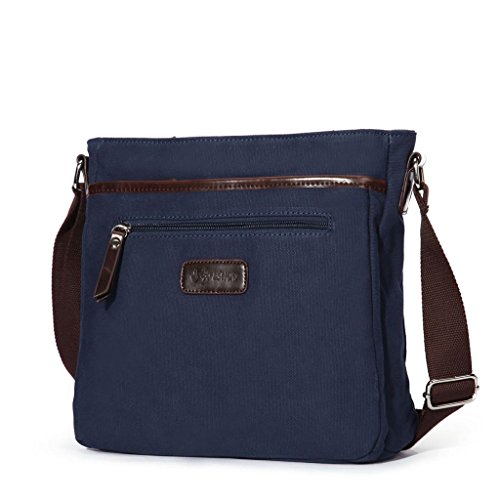 Eshow Men's Canvas Retro Crossbody Shoulder Satchel Bag, Dark Blue