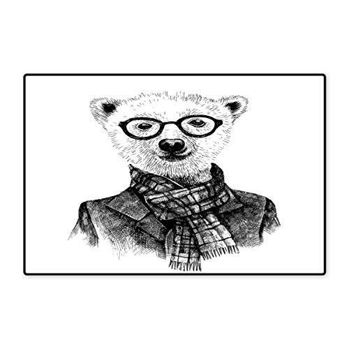 - Animal Bath Mats for Bathroom Hand Drawn Monochrome Sketch Style Hipster Bear with Jacket Scarf Glasses Floor mat Bath Mat 20