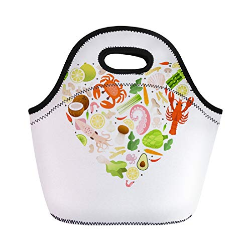 Tinmun Lunch Tote Bag Traditional Thai Products in the Form Heart Seafood Reusable Neoprene Bags Insulated Thermal Picnic Handbag for Women Men (Best Coconut Shrimp Restaurant)