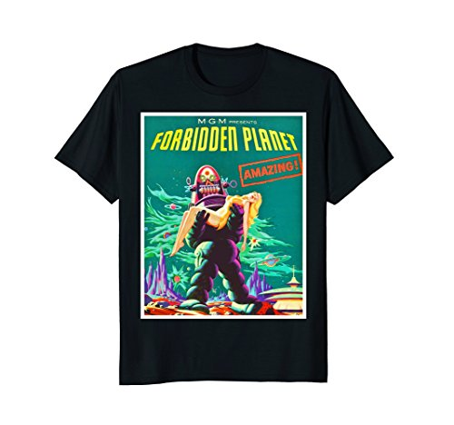 b4781c59 Mens Forbidden Planet Sci Fi Horror T-Shirt Robot Tee Shirt XL Black