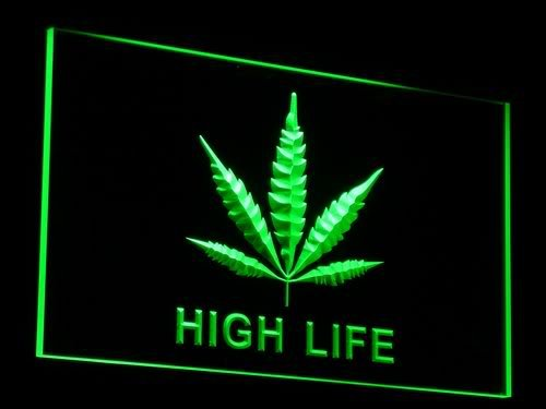 ADV PRO e006-g Marijuana Hemp Leaf High Life NR Neon Light Sign
