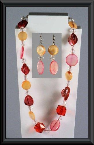 chaîne 1 bijoux pièces la + de - Mesdames composé CARAÏBES 2 boucles mode collier x Bijoux d'oreilles