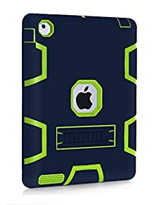 Navy Blue Color Hybrid Rubber Shockproof Rugged Matte Hard Case Cover For iPad Air 2 (BTT-13)