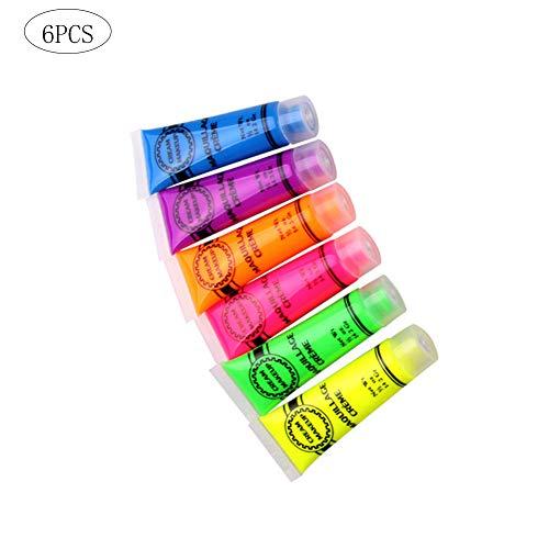 Halloween Makeup Cream Multi Usage Fluorescent Pigment Set Face Paint Cream Body Paint 6 Bottles Mixed Color -