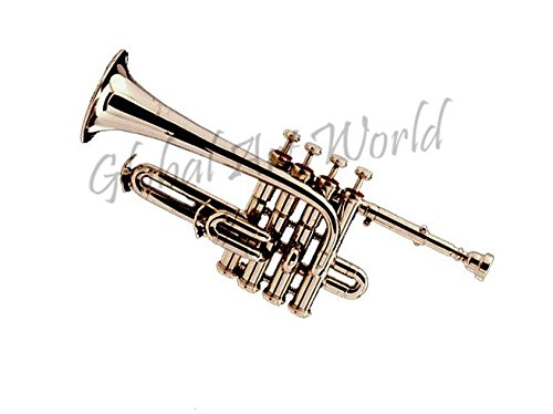 Global Art World Trumpet Piccolo 4 Valves Silver-Plated Cibaili With Case MI 0105 by Global Art World
