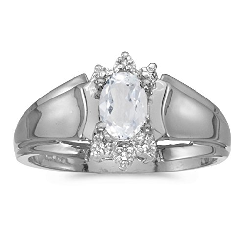 - 0.48 Carat (ctw) 14k White Gold Oval White-Topaz and Diamond Accent Anniversary Fashion Ring (6 x 4 MM) - Size 6