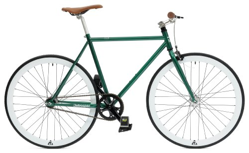Retrospec Mini Mantra Fixie Bicycle with Sealed Bearing Hubs and Headlamp, Dark Green, (Sealed Hub)