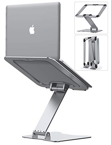 "Laptop Stand, Letlar Laptop Holder, Aluminum Laptop Riser Stand for Desk, Adjustable Height 1.9""-13.8"", Compatible with MacBook, Dell HP Lenovo, All Laptops 8-15.6 Inches, Supports up to 44Lbs-Silver"