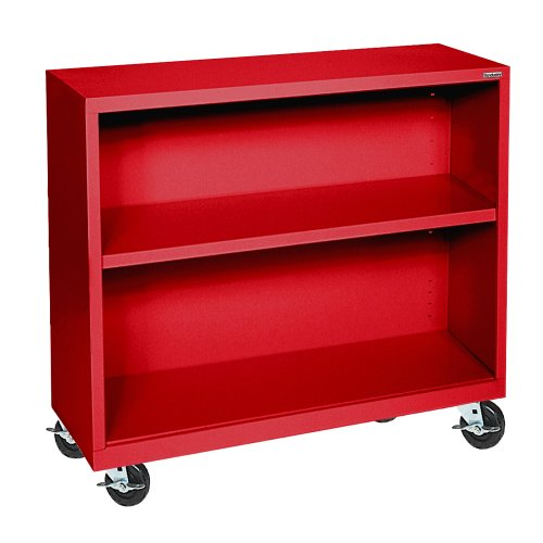 Sandusky Lee BM10361830-01 Red Steel Mobile Bookcase, 1 Adjustable Shelf, 200 lb. Per Shelf Capacity, 36″ Height x 36″ Width x 18″ Depth