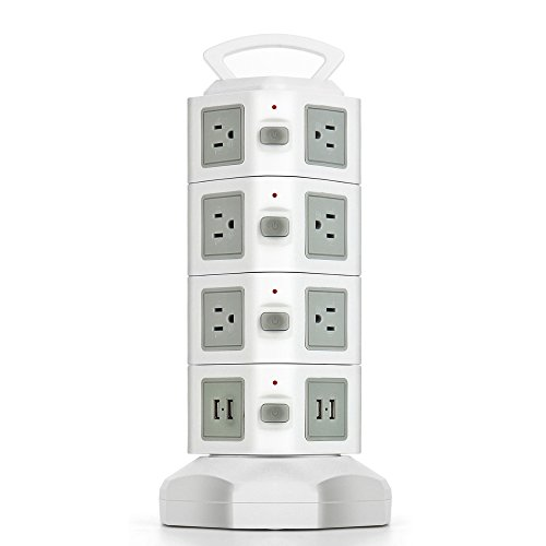 TNP Power Strip with USB Surge Protector - Charger Station Power Supply Adapter Multi Socket Plug Powerstrip Bar Stand Tower, 6FT Extension Cord (14 AC Outlet + 4 USB Port, Beige & White)