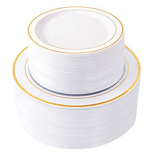 100 Piece Plastic Party Plates White Gold Rim ~ 50 Premium Heavy Duty 10.25