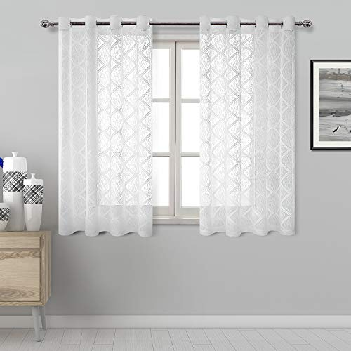 DWCN Lace White Sheer Curtains - Grommet Top Geometric Pattern Faux Linen Semi Voile Drapes Bedroom and Kitchen Short Curtains, 52 x 45 Inch Length, Set of 2 Window Curtains ()