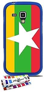 Carcasa Flexible Ultra-Slim SAMSUNG GALAXY TREND de exclusivo motivo [Myanmar Bandera] [Azul] de MUZZANO  + ESTILETE y PAÑO MUZZANO REGALADOS - La Protección Antigolpes ULTIMA, ELEGANTE Y DURADERA para su SAMSUNG GALAXY TREND