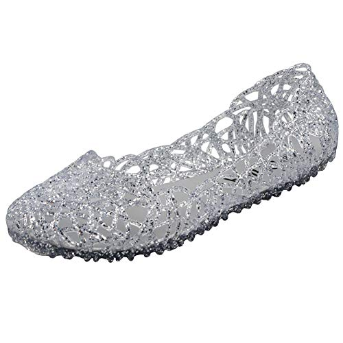 PhiFA Womens Jelly Ballet Flats Shoes Silver US Size 10