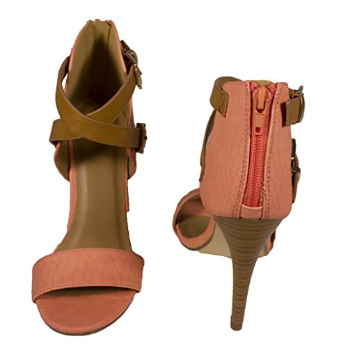 Lustacious Womens Open Toe Criss Cross Buckle Strap Ankle High Heel with Back Zipper Salmon Tan Snake Leatherette LHP4EJcAH